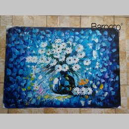 Paintings Vases UK - 100% Hand Painted Still Life Oil Painting on Canvas Blue Flowers in the Vase Painting Modern Simple Home Wall Decoration Art