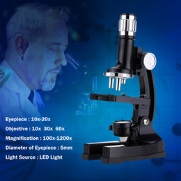 instruments kit Canada - Freeshipping 1200X Educational Microscope Kit with Projector LED 10-20X Zoom Eyepiece Students Science and Education Biological Instrument
