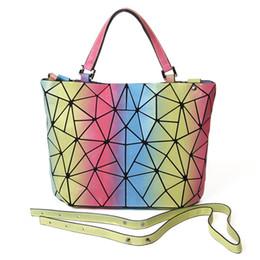 75273c4e69 Rainbow laser geometric lattice folding colorful color leather hobo bags  shoulder handbags over the shoulder bag