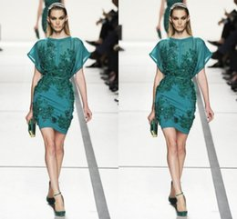 Elie Saab Mini Baratos-2017 Short elie saab (vestidos de cóctel desgaste de la tarde Crew Sheer Apliques perlas lentejuelas Capped Green Prom Gowns Cheap Party Drees