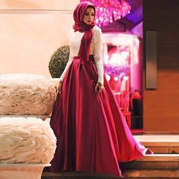$enCountryForm.capitalKeyWord Australia - 2019 Fashion White Red Muslim Prom Dresses Long Sleeves Hijab Evening Gowns Lace Satin Floor Length Plus Size Saudi Arabic Party Dresses