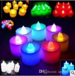 Purple Flameless Candles Wholesale Canada - Hot sale Electronic candle lamp LED Candles Light Flashing Flameless Multi Colors Light Candle Lamp Wedding lights Gifts Party Decor