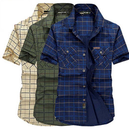 leisure shirt free shipping NZ - Wholesale-Plus Size M-5XL New Plaid Shirt Summer Short Sleeved Cotton Men's Denim Leisure Shirt Mens Shirts Tops Free Shipping