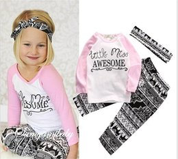 El Harem De Los Niños Al Por Mayor Baratos-Venta al por mayor Boys Girls Baby Childrens Clothing Sets Cartas de algodón camisetas Harem Pants Headband 3 piezas Set Jumpers Toddler pijamas Ropa