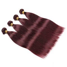 $enCountryForm.capitalKeyWord UK - Mink Brazilian Straight Hair Burgundy Human Hair Weaves Pure 99J Color Double Wefts 100g bundle 3Bundles lot 4Bundles lot Hair Extensions