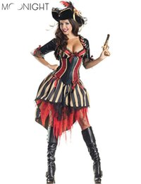 Trajes De Fantasía De Pirata Baratos-vestido de cosplay MOONIGHT Halloween Caribbean Spanish Pirate Costume Women Fancy Dress Cosplay para Mujeres Talla Única