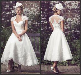 Short Formal Wedding Dress Canada - Short Wedding Dresses Appliques Lace Tea Length With Jacket Elegant Iullsion Bridal Gown Fashion Modest Beautiful High Quality Formal Wear