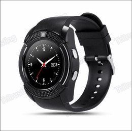 Bluetooth Smart Watch Sim Canada - V8 Smart Watch Bluetooth Watches Android with 0.3M Camera MTK6261D Smartwatch for android phone Micro Sim TF card with Retail Package MQ20