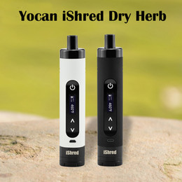 E hErb vaporizEr online shopping - Authentic Yocan iShred Kit Sample Order Dry Herb Vaporizer E Cigarette Kits mAh LCD Sreen Built in Herb Grinder In Stock