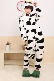 Livraison De Vêtements Pour Adultes Pas Cher-Vente en gros - Livraison gratuite Animae Animal Milk Cow Cosplay Vêtements Animaux en gros Pyjamas Costumes d'Halloween Adulte animal pyjama une seule pièce
