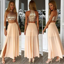 ankle length dress junior 2019 - Light Pink   Champagne Two Piece Prom Party Dresses Cheap High Neck Sequined Chiffon Split Junior Formal Dresses Evening