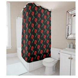 $enCountryForm.capitalKeyWord Canada - Customs 36 48 60 66 72 80 (W) x 72 (H) Inch Shower Curtain Red Rose Black background Waterproof Polyester Fabric Diy Shower Curtain