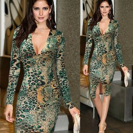Robe De Tunique Pas Cher-VfEmage Femmes Elegant Sexy Hot V Neck Leopard drapé Tunique à manches longues Casual Party Club Clubwear Robe fourreau à cravate Ropa mujer dresses S5