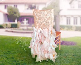 champagne chair organza Australia - 2016 Sequined Ruffles Wedding Chair Sashes Vintage Romantic Organza Chair Covers Floral Wedding Supplies Luxurious Wedding Accessories 02