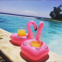 $enCountryForm.capitalKeyWord Canada - Flamingos Inflatable Drink Cup Holder Bottle Holder Pink Floating Can Holder Lovely Pool Bath Toy 10pcs lot