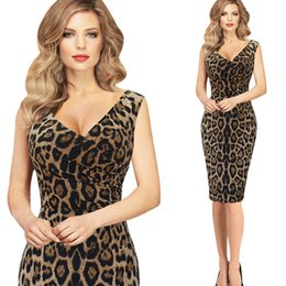 Barato Cocktail Leopardo Vestido De Festa-Mulheres Elegante Sexy Leopard Dress V Neck Cocktail Slim Bodycon Mini Túnica sem mangas Casual Party Club Clubwear Vestido de bainha de lápis