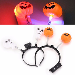 Bandeaux De Noel En Gros Pas Cher-LED Light Up Hairband Headband Pumpkin Skull Clignotant Party Xmas Gift Halloween Decoration Wholesale