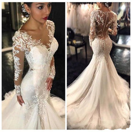 Barato Estilo Longo Da Sereia Dos Vestidos-2017 Gorgeous Lace Mermaid Wedding Dresses Dubai Africano Árabe Style Petite Long Sleeves Natural Slin sereia Bridal Gowns Plus Size