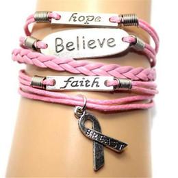 $enCountryForm.capitalKeyWord NZ - Charms Woven Leather Bracelets Believe Letter Faith Hope Breast Cancer Awareness Bracelets Fashion Bracelets Handmade Jewelry Christmas Gift