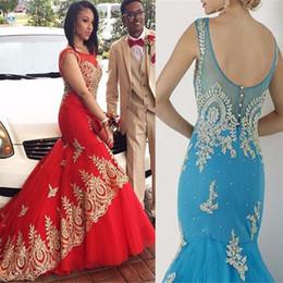 75b49fbc85d Mermaid Appliques Gold Lace Sleeveless Scoop Red Tulle Prom Dress Plus Size  Red Tulle Evening Dress vestidos de fiesta largos 2017
