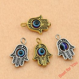 Gold 14k Hamsa Wholesale Canada - 50pcs Antique Golden Silver Pltaed Hamsa Hand Charms Pendants for Jewelry Making Diy Jewelry Findings 18x13mm jewelry making