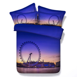romantic king size bedding sets UK - Hot Modern Style Blue Romantic Ferris Wheel 3D Printed Bedding Sets Twin Full Queen King Size Bedspreads Duvet Covers Pillow Shams Comforter