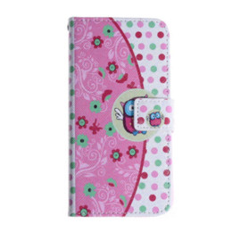 """$enCountryForm.capitalKeyWord UK - 2015 New PU Leather Case For Apple iPhone 6 4.7"""" Owl Printed Flip Stand Wallet Cover with Card Holder Floral Phone Bag Case"""
