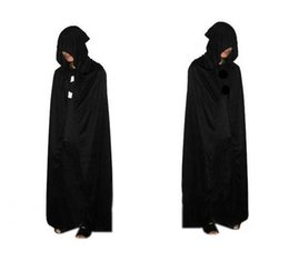 Black Knit Fabric Canada - 2016 HOT Halloween Costume knitted fabric Theater Prop Death Hoody Cloak Devil Long Tippet Cape Black Free FedEx DHL