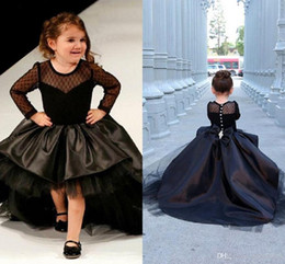 Christmas Bows For Little Girls Canada - 2017 New Black Long Sleeve Flower Girl Dresses For Wedding With Bow Tulle Jewel Neck Puffy Beaded High Low Little Girls Pageant Formal Dress