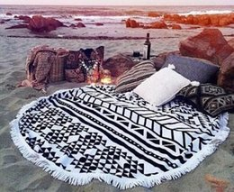 Fashion beach towels Hot Sale microfiber beach towel round with tassel round beach towel 150cm Bohemia Round tassel beach Towels Free DHL on Sale