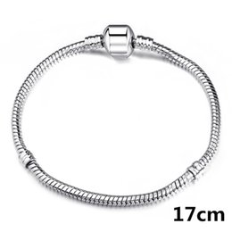 925 3mm Bracelets Canada - 200PCS hot sell 925 marked Silver p Bracelets Links 3MM Snake Chains Fit Murano Beads Europe Chain Jewelry