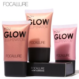 Face Glow Cream Canada - Focallure Highlight Contour Glow Illuminator Moisturizing concealer Makeup Waterproof Brighten Cream Face Body Glow Liquid Highlighters