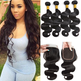 brazilian virgin human hair extensions NZ - Body Wave 4x4 Lace Closure 3 Ways Part With 4 Bundles Brazilian Body Wave Virgin Hair Unprocessed 100% Human Hair Extensions With Closure