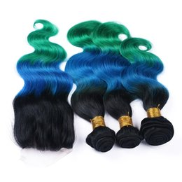 $enCountryForm.capitalKeyWord Canada - 8A Ombre Hair Extensions #1b Blue Green Ombre Human Hair 3Pcs With Lace Closure Three Tone Ombre Body Wave Hair Weave With Closure