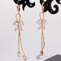$enCountryForm.capitalKeyWord Canada - GULICX Fashion Long Tassel Earing for Women 18K Gold Plated Earring Crystal Cubic Zircon Dangle Earrings Free Dropshipping E122