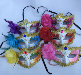 $enCountryForm.capitalKeyWord NZ - Hot sales coloured drawing or pattern Bud silk Gold Package edge crystal Lateral flowers mask dance Festival mask 25pcs lot Drop shipping
