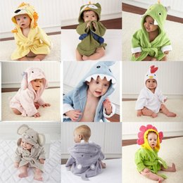 $enCountryForm.capitalKeyWord NZ - Blue Pink Shark Cotton Towel Fabric Animal Modeling Hooded Baby Bathrobe Cartoon Kids Bath Robe Towel Baby Swaddling Infant pijamas Dress