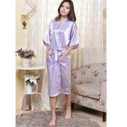 Lingerie Féminine Sexy Chinoise Pas Cher-Taille en gros-Light Chinese Purple Femmes Rayon Robe Lingerie Sexy Summer Lounge Kimono Nightgown Pyjamas Plus S M L XL XXL XXXL 160404