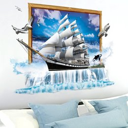 Boat Wall Stickers Australia - [SHIJUEHEZI] 3D Boat Wall Stickers Vinyl DIY Sailing Ship Wall Poster for Living Room Kids Bedroom Decoration Home Decor Sticker