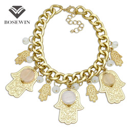 Chunky Chains online shopping - Arabia Hamsa Statement Necklace For Women fashion Chunky Chain Bib Choker Crystal Palm Big Pendant Necklaces Maxi Jewelry CE3882