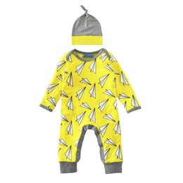 Chinese  Newborn Romper Kids Clothing Long Sleeve Paper Airplane Printed Romper Baby Boys Girls Clothes Jumpsuit Hat 2PCS Baby Outfits Spring Autumn manufacturers