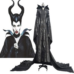 Maleficent Movie costuMes online shopping - HOT Halloween COS Maleficent Angelina Jolie Cosplay Costume Womens Black Dress Suit Custom Made Chrismas Handmade