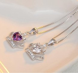 $enCountryForm.capitalKeyWord Australia - Austrian Crystal Crown Wedding Pendant Jewelry Beauty Crown Pendant Necklace 925 Sterling Silver Plated Jewelry NO CHAIN DHL Christmas Gift