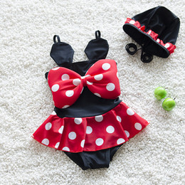 $enCountryForm.capitalKeyWord Canada - New Summer Baby Girls Bikini One-piece Swimwear Dots Rompers Kids Swimwear Baby Swimsuit Bowknot Children Princess Bathing Suit With Cap