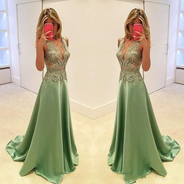 Olive Green Prom Dress Lace Canada - 2016 Sexy Evening Dresses Wear Plunging V Neck Olive Green Satin Lace Appliques Beaded Illusion Long Prom Gowns Plus Size Formal Party Dress