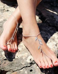 Discount foot slave - Wholesale 12Pcs Sexy Leaf Ankle Bracelet Toe Slave Foot Jewelry Chain Sandal Beach Anklets For Women Gift