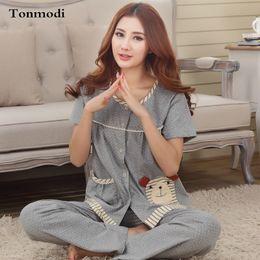 79c347c248 Wholesale- New Women s Pajamas Summer Cotton Short Sleeve Trousers  Sleepwear Ladies Pyjamas Sets Plus Size 3XL