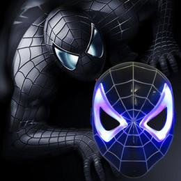 Discount black spider man mask - NEW Plastic Black Spider-Man Mask Children's Cartoon Ultraman Mask with Light Emitting Party Supply