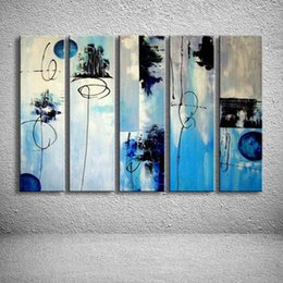 line art wall painting 2020 - Abstract Graffiti Line Bule Oil Painting Modern Home Decor Wall Canvas Art Hand Painted Acrylic Paintings Blue 5 Panel P