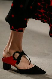 Red Pointed Pumps Canada - 2016 fashion women shoes Pointed toe Studded buckle strap heels Proenza Grommeted Leather & Suede Slides BLACK WHITE RED Leather Pumps
